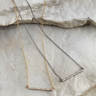 Pave Bar Necklace Silver