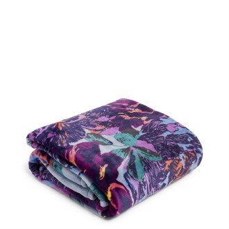 Plush Throw Blanket Neon Bloom