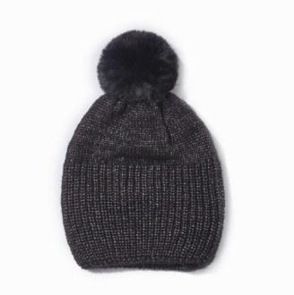 Shiny Knit Ribbed Pom Pom Hat