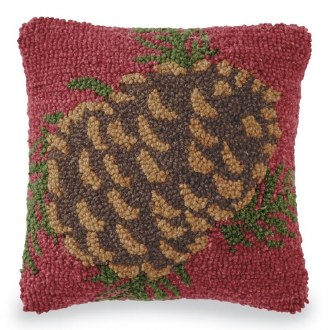 Small Pinecone Hooked Pillow