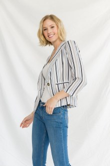 Shawl Collar 3/4 Sleeve Stripe Large