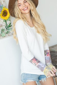 Floral Sleeve Ribbed Top