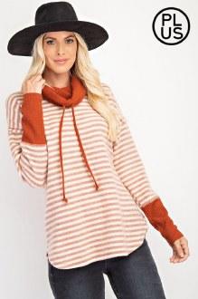 Oversized Stripe Turtleneck: Rust