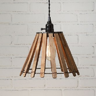 Wood Slat Pendant Light