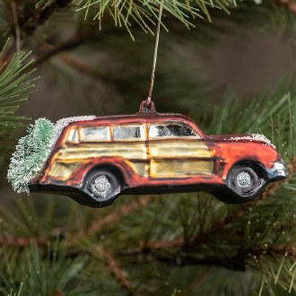 Red Woody Wagon Ornament