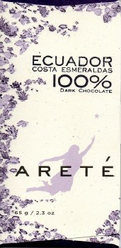 Areté Costa Esmeraldas, Ecuador 100% Dark Chocolate