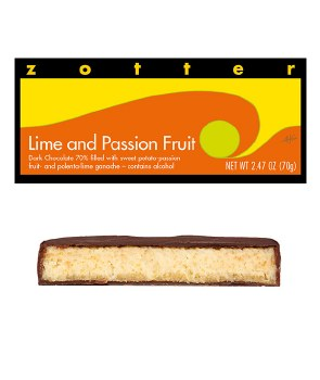 Zotter Lime & Passion Fruit Filled Chocolate Bar