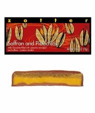 Zotter Saffron and Pistachios Filled Chocolate Bar