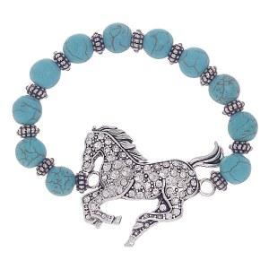 Rhinestone Horse Bracelet Turquoise