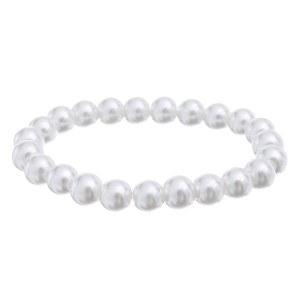 10mm Pearl Stretch Bracelet White
