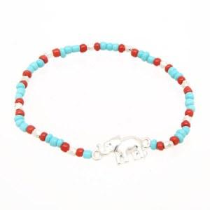 Elephant Beaded Bracelet Turquoise