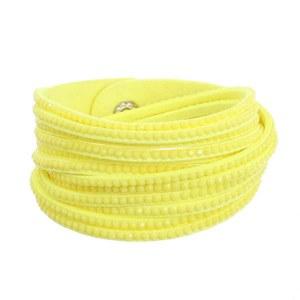 Rhinestone Studded Wraparound Bracelet Yellow