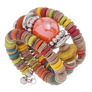 Coiled Wood Accent Chunky Bracelet Multi