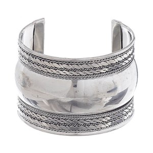 Rope & Twist Accent Fluted Cuff Bangle Silver