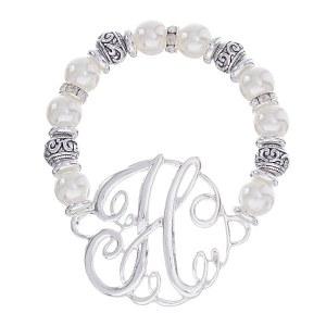 Initial Pearl Stretch Bracelet - H
