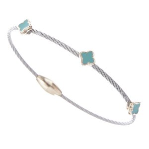 Mini Clover Magnetic Cable Bracelet Turquoise