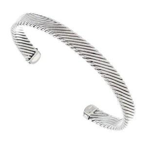 Diagonal Lines Metal Cuff Bracelet