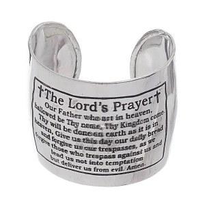 Lord's Prayer Cuff Bracelet Silver