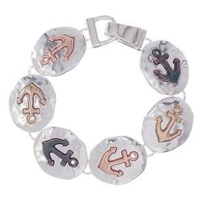 Anchor Tri-tone Link Bracelet