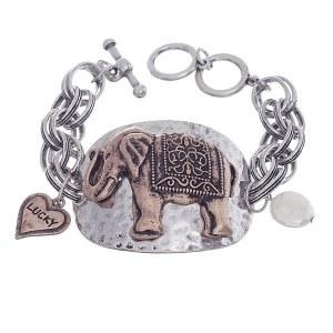Hammered Plate Elephant Toggle Bracelet Two Tone