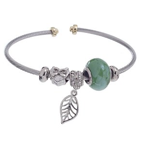 Thin Cable Bangle Green