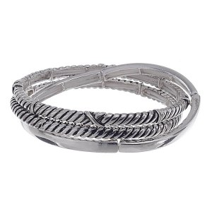 3 Piece Metal Stretch Bracelet Set - Cable