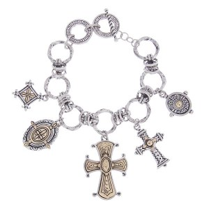Reversible Cross Charms Two Tone Toggle Bracelet