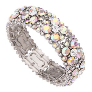 Rhinestone Evening Bracelet Silver AB