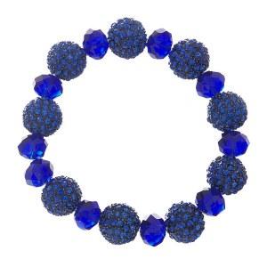 Pave & Crystal Bead Stretch Bracelet Royal