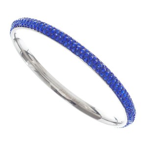 3 Row Rhinestone Bangle Blue