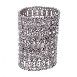 5 Row Wide Stretch Bracelet Silver
