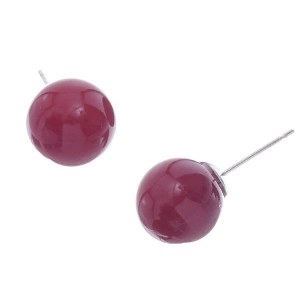12mm Pearl Stud Earrings Red