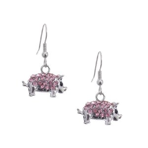 Rhinestone Pig Dangle Earrings Pink