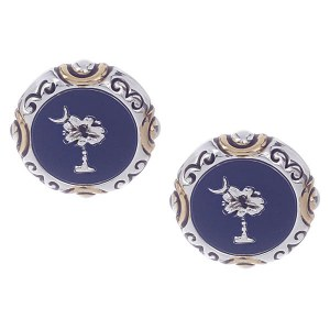 Palmetto Tree & Crescent Moon Earrings Two Tone