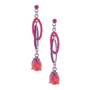 Double Oval Crystal Drop Earrings Red