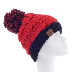 Team Spirit Two Tone Pom Beanie Black/Red