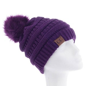Slouchy Cable Knit Fur Pom Beanie Purple