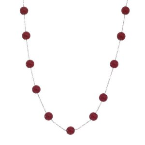 Opaque Pearl Tin Cup Necklace Red