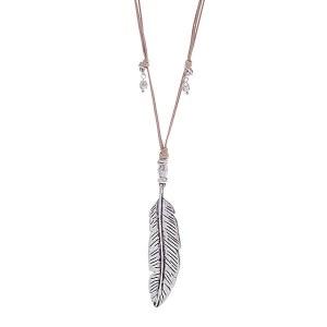 Leaf Pendant Necklace Silver