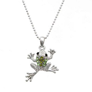 Frog Pendant Necklace Green