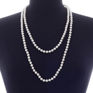 """60"""" 8mm Pearl Necklace White"""