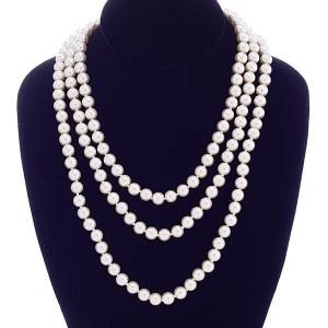"60"" 8mm Pearl Necklace Cream"