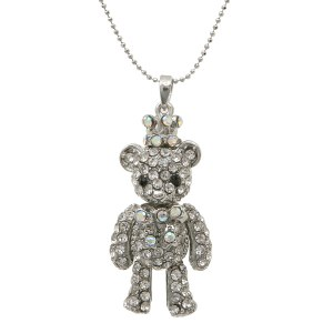 Crowned Teddy Bear Pendant Necklace