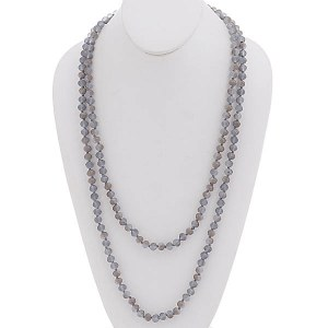 """60"""" Beaded Necklace Blue-Gray"""