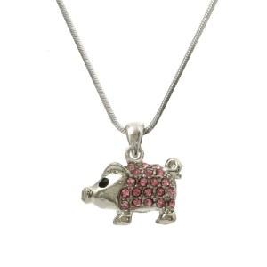 Pink Pig Pendant & Necklace