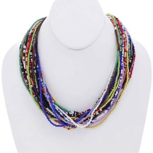 Thick Multi Strand Seed Bead Necklace Set Mixed