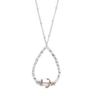 Anchor Teardrop Pendant Necklace