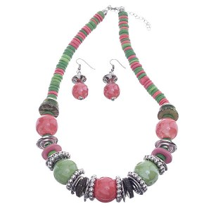 Wood Accent Chunky Beaded Necklace Set Pink/Green
