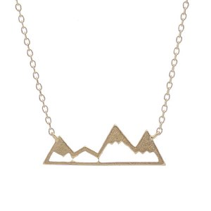 Mountain Pendant Necklace Gold