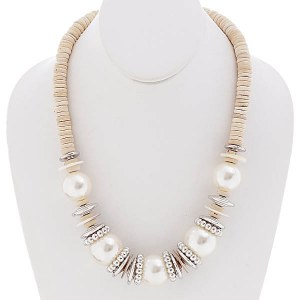 Wood Accent Chunky Beaded Necklace Set Ivory